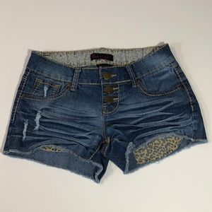 Black Crystal Low Rise Distressed Jean Shorts